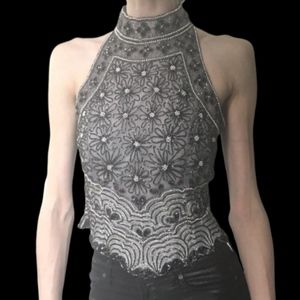 NWT Papéll 100% silk heavily beaded top